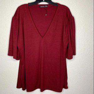 Burgundy V-Neck Shirt Sz 22